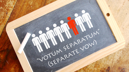 vow: Votum separatum. A Latin phrase That means separate vow. An independent, minority voice.