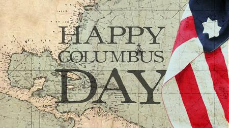 해피 콜럼버스의 날. 미국 국기 및 해상 차트