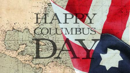 해피 콜럼버스의 날. 국기와 차트