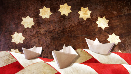 Columbus Day. Three Caravels Paper and Flag Waves