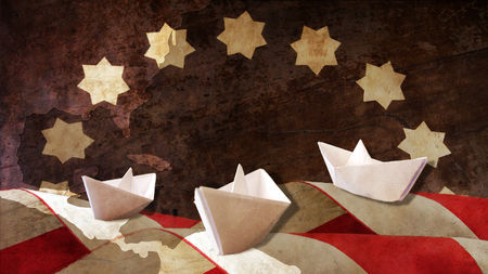 Columbus Day. Three Caravels Paper Chart and Flag Waves