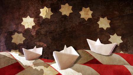 caravelle: Columbus Day. Trois Graphique et drapeau Caravelles papier Waves