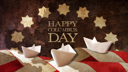 caravelle: Happy Columbus Day. Three Caravels Paper Chart and Flag Waves