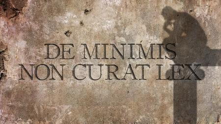 ・ デ ・ ミニミス非 curat lex。法律を意味するラテン語の非常に小さなものと気にしません。