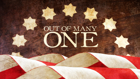 motto: Out of Many One. US motto. Stars and Stripes. From Latin E Pluribus Unum