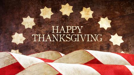 Happy Thanksgiving. US Flag on Wood