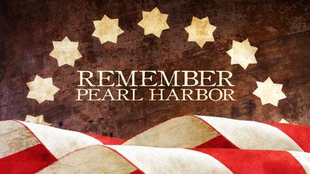 remember: Recuerde Pearl Harbor. Ondas de la bandera de Estados Unidos en la madera