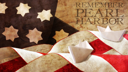 Remember Pearl Harbor. Flag Waves on Wood and Paper Boat Stock Photo