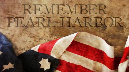 remember: Recuerde Pearl Harbor. Bandera de Estados Unidos en la madera