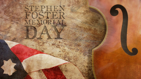 stephen: Stephen Foster Memorial Day. Violin and American Flag