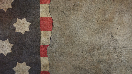 United States Flag on Cracked Concrete Wall