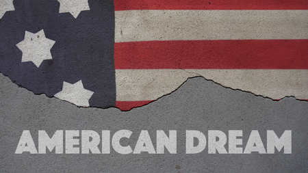 American Dream. US Flag and Cracked Wall