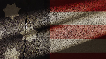 American Flag Repaired on Cracked Wall