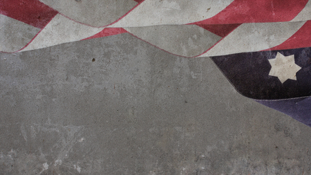 US Flag Clouds and star on concrete Wall Banco de Imagens