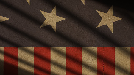 US Flag on Concrete with Shadow Gate. Stars and Stripes Banco de Imagens
