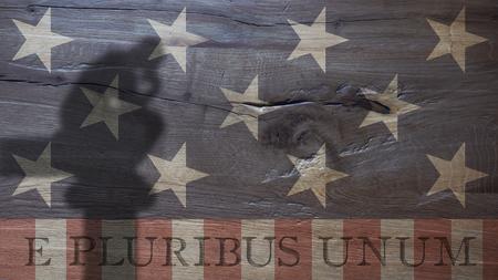 unum: E Pluribus Unum. Latin for Out of Many One. US Flag on Durmast