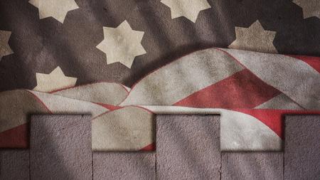 US Flag Waves and Medieval Merlons