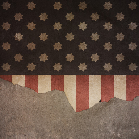 Stars and Stripes Flag on Cracked Concrete Wall