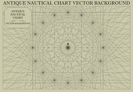 Antique Nautical Chart Map Vector Background Vettoriali