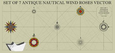 Set di sette vettori antichi nautici di vento Vettoriali