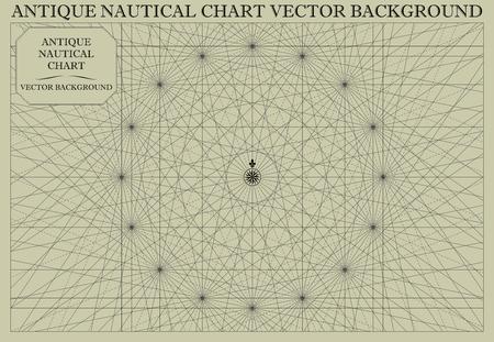 Antique Nautical Chart Map Vector Background Çizim