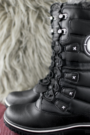 winter boots with high bootleg with lacing