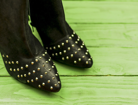 female boots with rivets