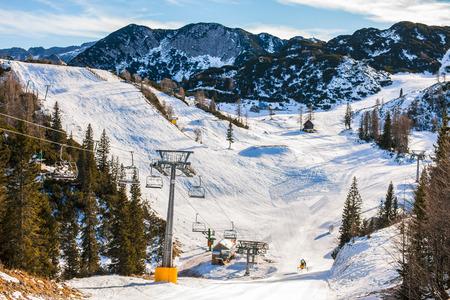 bohinj: View on snowy ski resort Vogel in Bohinj,Slovenia