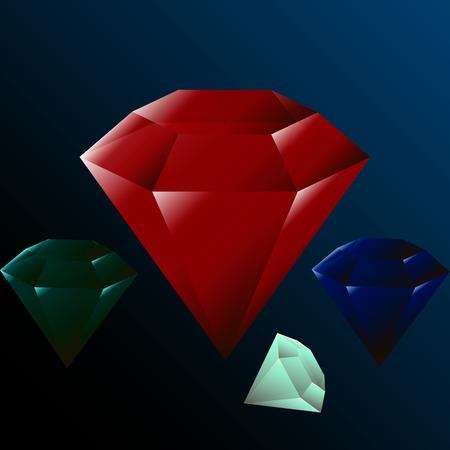 ruby: a set of precious stones, diamond, ruby, izubrud