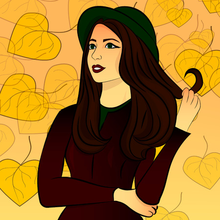 gazing: Girl gazing into the distance, on a yellow background autumn
