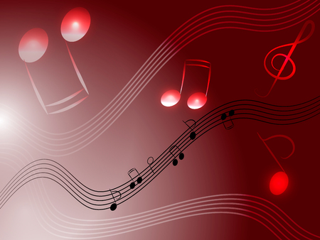 stave: Music red background with notes, treble clef and stave