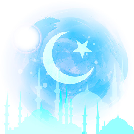 mohammad: Silhouette of mosque with minarets on watercolor background. Concept for Islamic Muslim holiday for celebration holy month of Ramadan Kareem. Greeting card for Ramadan Kareem