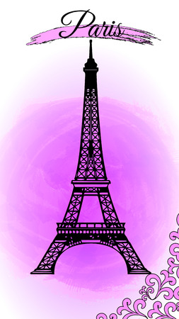 Landmark Paris - Eiffel Tower on a pink background with an inscription