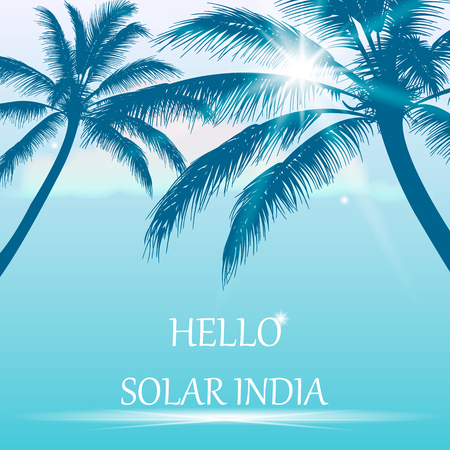 ceylon: Summer background with palm trees, the sun and the inscription - hello sun india