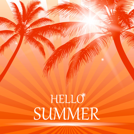 Summer background with palm trees, the sun and the inscription - hello summer