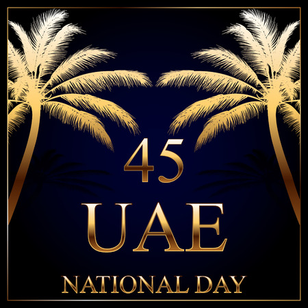 45th: Decorative background with a gold inscription and palm tree for United Arab Emirates National Day celebration