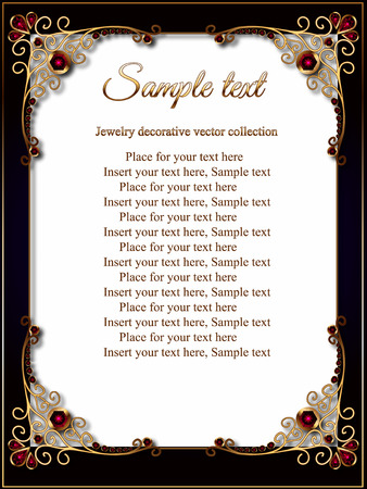 Vintage gold background, vector rectangle jewelry frame with ornamental border, greeting card or invitation template