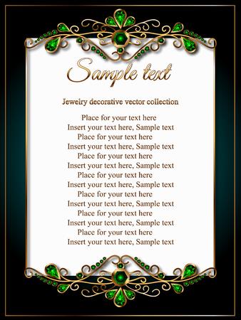 Carte, certificat priglastelnoe ou un menu avec un cadre doré en bijoux, vert émeraude Vecteurs