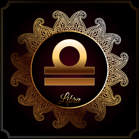 Astrological zodiac sign in golden circle with oriental pattern. Libra.