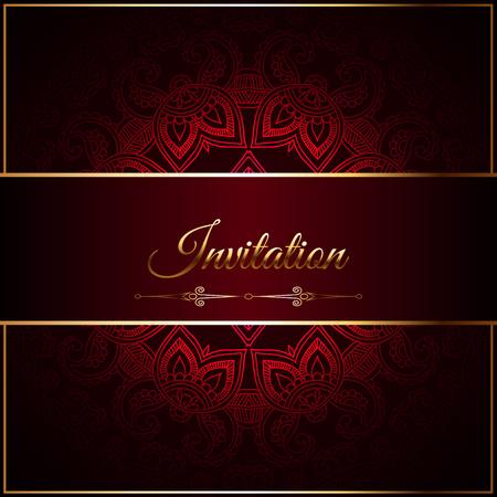 Wedding invitation or card , intricate lace mandala. Royal gold shades, Islam, Arabic, Indian Dubai Illustration
