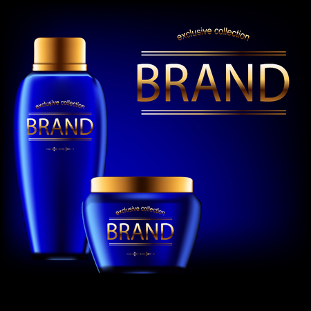 glowing skin: 3d realistic set of three blue cosmetics bottles of creams with place for name brand and gold decoration