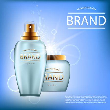 balm: Realistic set of cosmetics in blue glass bottles with golden lids Illustration