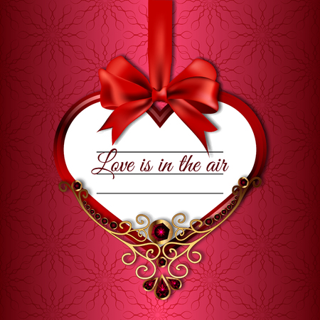ruby: Vector illustration of hanging on satin ribbon bow heart with the words love in the air, decorated with precious stones and gold on a patterned background