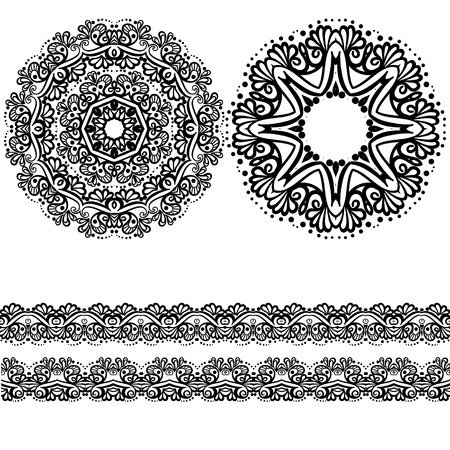 Set of patterns of mandalas and decorations to the brim. Vector illustration of oriental style with Indian, Arabic, Turkish, Islamic patterns on a white background.