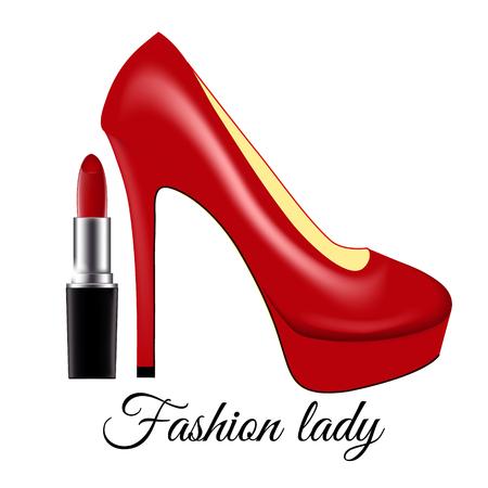 Mode dame. Rood gelakte schoenen op hoge hakken en lippenstift op een witte achtergrond. Vector geïsoleerde illustratie met inscriptie. Vector Illustratie
