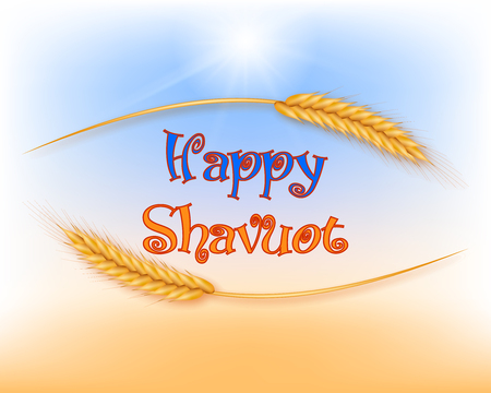 Vector illustration for the Jewish holiday of Shavuot. Wheat or rye ears. Illustration