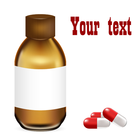 Vector illustration of a medical vial with medicine. Brown glass bottle with syrup or tablets. Red pills on a white background.