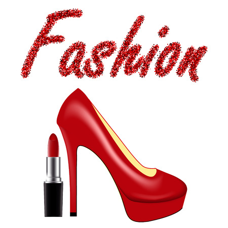 Vector illustration with red lacquered high-heeled shoes, tube of lipstick and the inscription Fashion of sequins