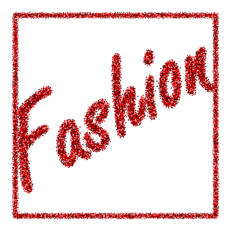 Vector illustration with a tube of red lipstick and the inscription Fashion of sequins Stock fotó - 78461564