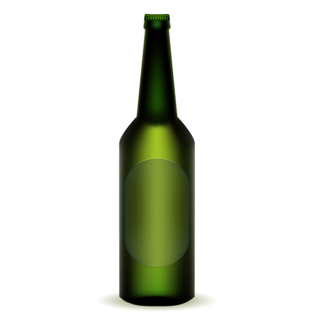 Realistic bottle and beer .Vector illustration on white background.